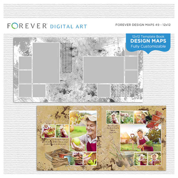 Forever Design Maps 49 - 12x12 Digital Art - Digital Scrapbooking Kits