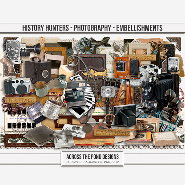 History Hunters - Photography- Embellishments Digital Art - Digital Scrapbooking Kits
