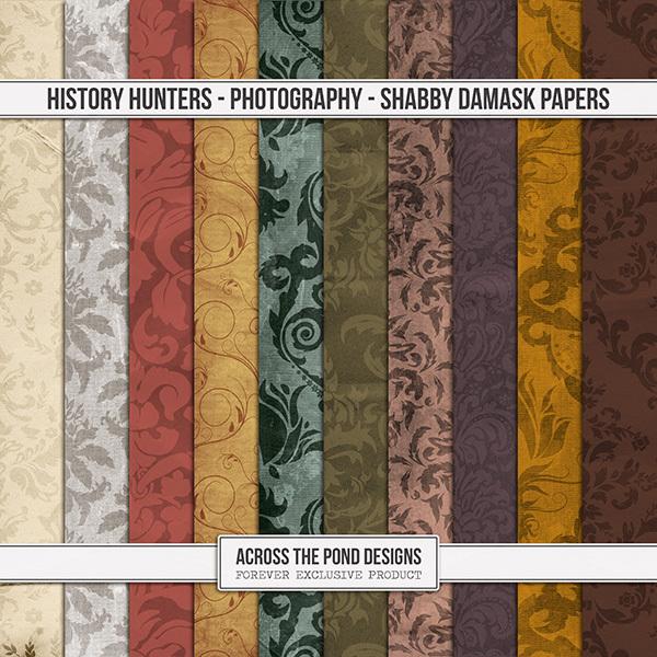 History Hunters - Photography- Shabby Damask Papers Digital Art - Digital Scrapbooking Kits