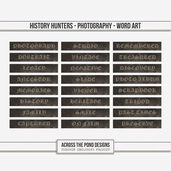 History Hunters - Photography-  Word Art Digital Art - Digital Scrapbooking Kits