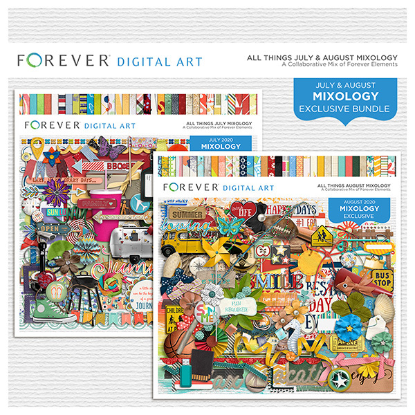 All Things July & August Mixology Bundle Digital Art - Digital Scrapbooking Kits