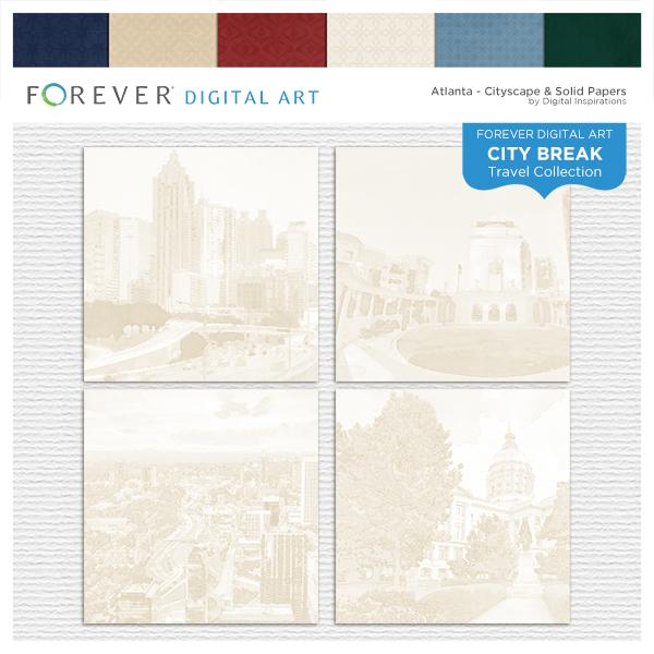 City Break - Atlanta -  Cityscape & Solid Papers Digital Art - Digital Scrapbooking Kits