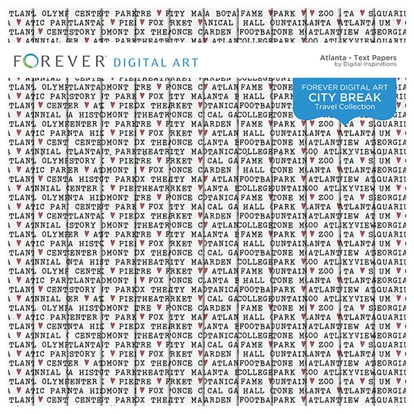 City Break - Atlanta -  Text Papers Digital Art - Digital Scrapbooking Kits