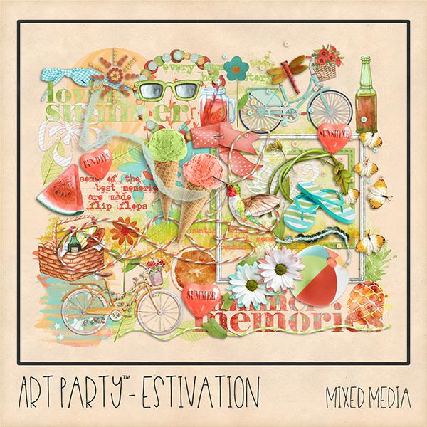 Estivation Mixed Media Embellishments Digital Art - Digital Scrapbooking Kits