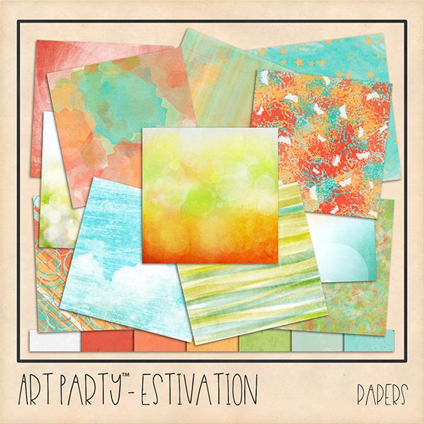 Estivation Papers Digital Art - Digital Scrapbooking Kits