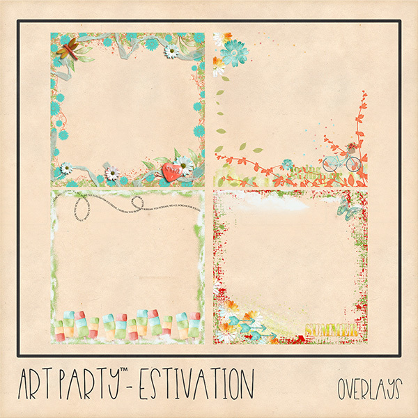 Estivation Overlays Digital Art - Digital Scrapbooking Kits