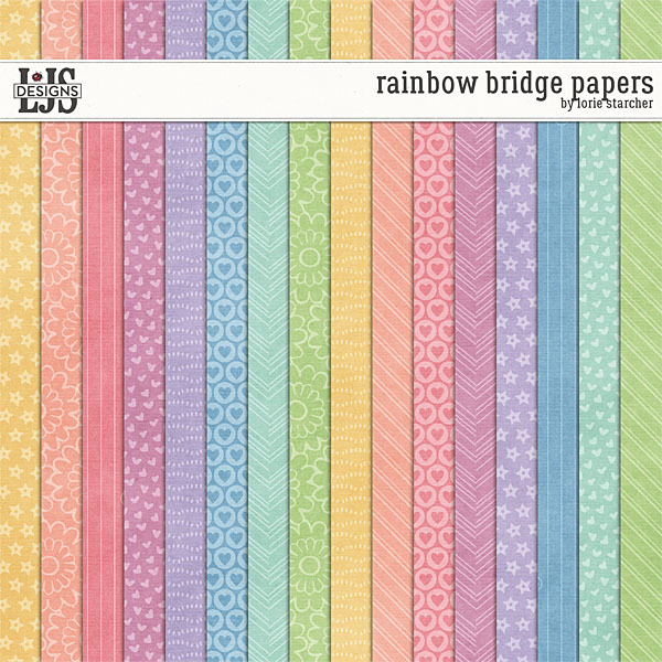 Rainbow Bridge Papers Digital Art - Digital Scrapbooking Kits