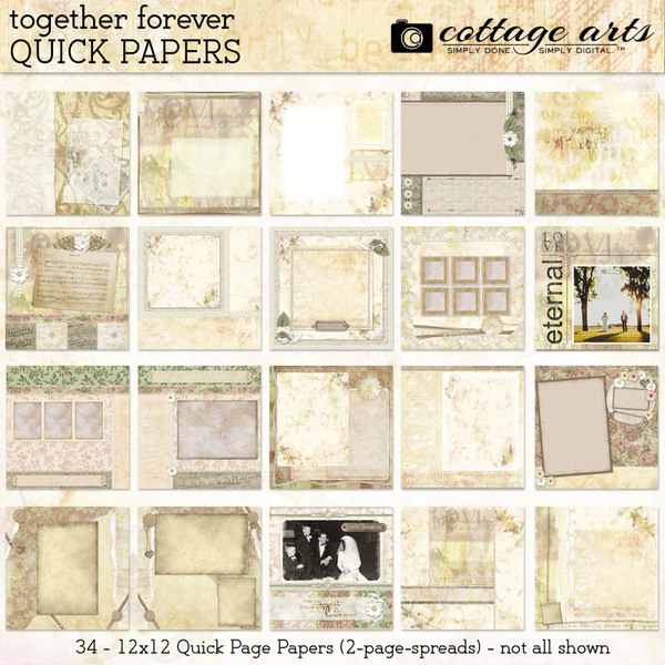 Together Forever Quick Papers Digital Art - Digital Scrapbooking Kits