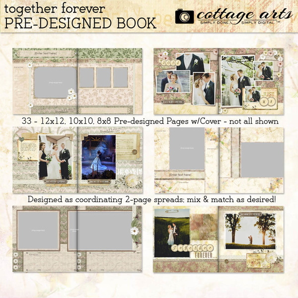 Together Forever Pre-designed Book Digital Art - Digital Scrapbooking Kits