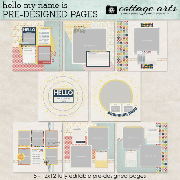 Hello My Name Is Pre-designed Pages Digital Art - Digital Scrapbooking Kits