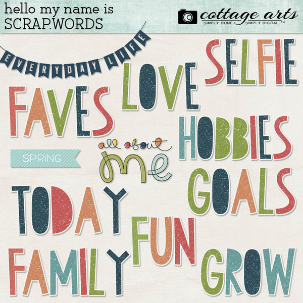 Hello My Name Is Scrap.Words Digital Art - Digital Scrapbooking Kits