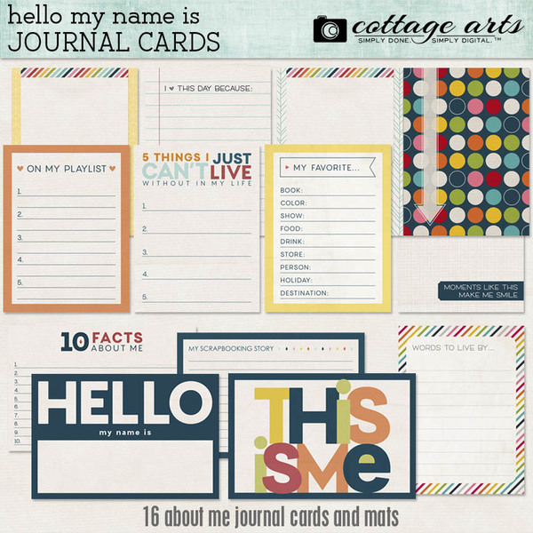 Hello My Name Is Journal Cards Digital Art - Digital Scrapbooking Kits