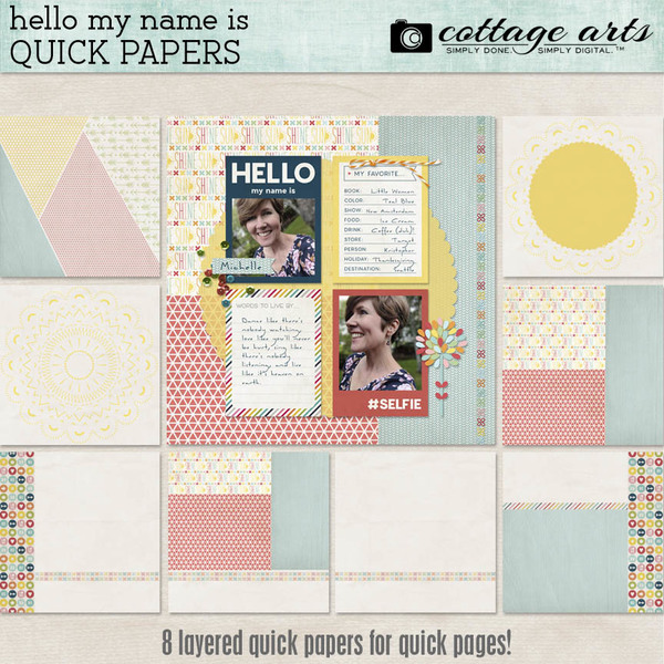 Hello My Name Is Quick Papers Digital Art - Digital Scrapbooking Kits