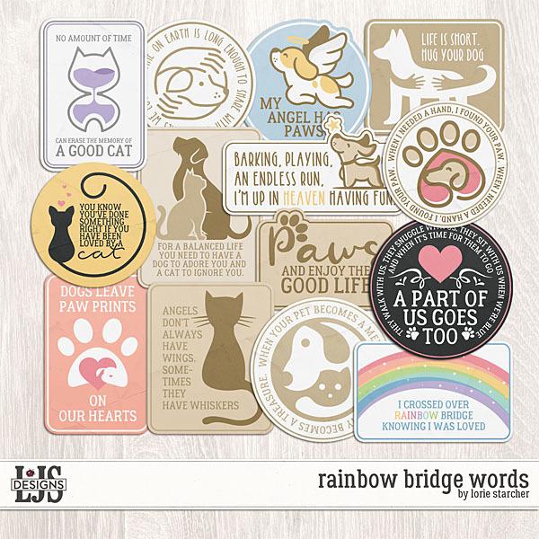 Rainbow Bridge Words Digital Art - Digital Scrapbooking Kits