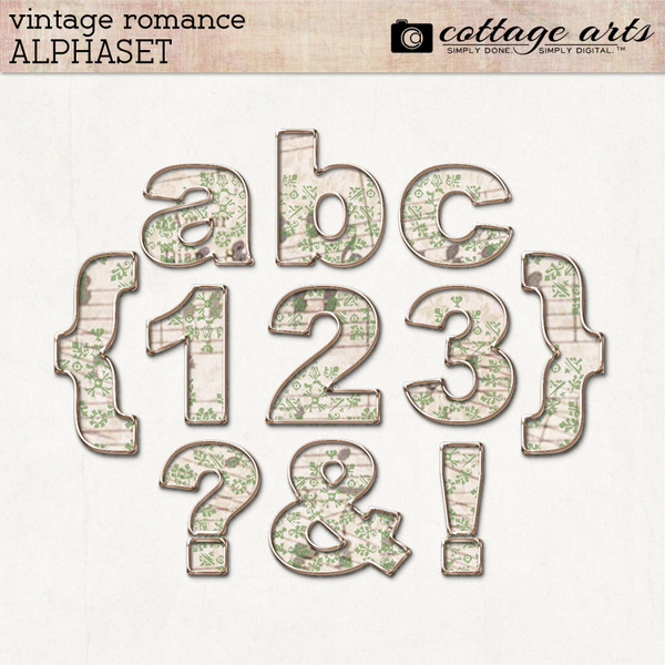 Vintage Romance AlphaSet Digital Art - Digital Scrapbooking Kits