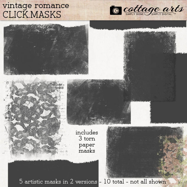 Vintage Romance Click.Masks Digital Art - Digital Scrapbooking Kits