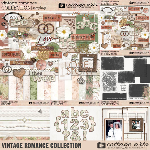 Vintage Romance Collection Digital Art - Digital Scrapbooking Kits