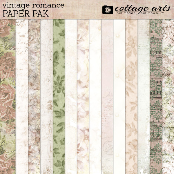 Vintage Romance Paper Pak Digital Art - Digital Scrapbooking Kits