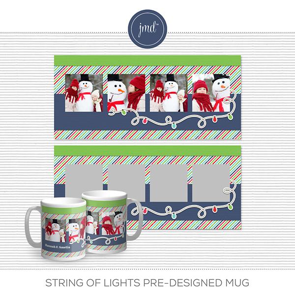 String of Lights Pre-Designed Mug Digital Art - Digital Scrapbooking Kits
