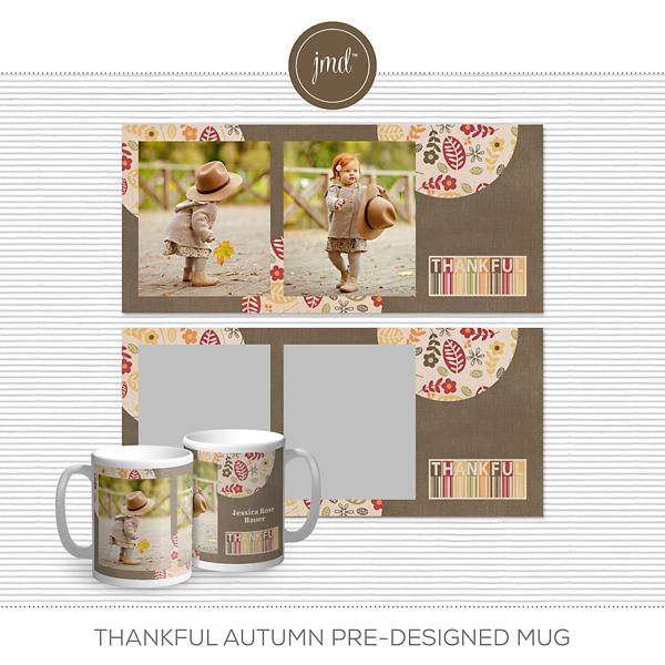 Thankful Autumn Pre-Designed Mug Digital Art - Digital Scrapbooking Kits