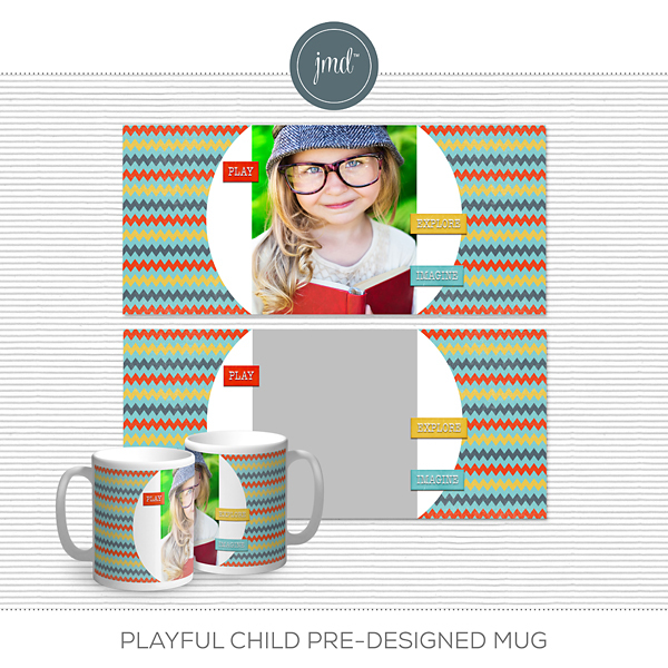 Playful Child Pre-Designed Mug Digital Art - Digital Scrapbooking Kits