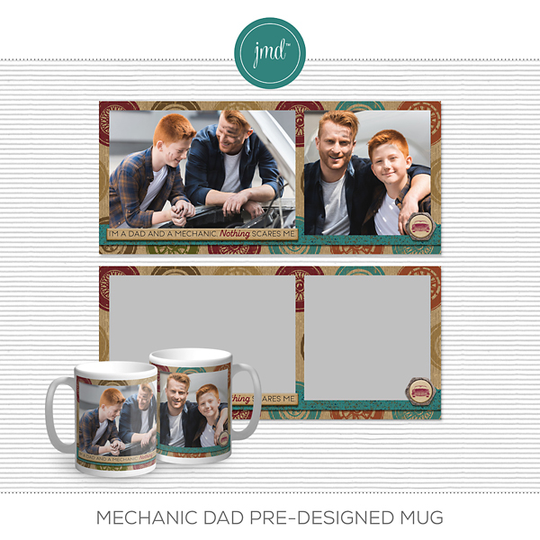 Mechanic Dad Pre-Designed Mug Digital Art - Digital Scrapbooking Kits