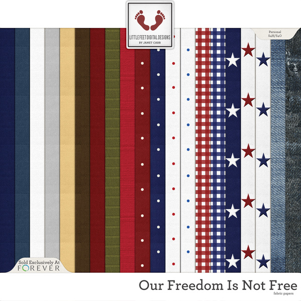 Our Freedom Is Not Free Fabric Papers Digital Art - Digital Scrapbooking Kits