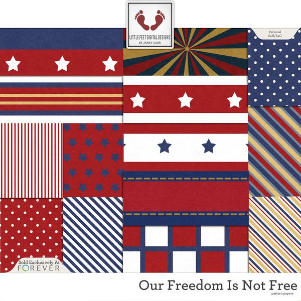Our Freedom Is Not Free Pattern Paper Digital Art - Digital Scrapbooking Kits