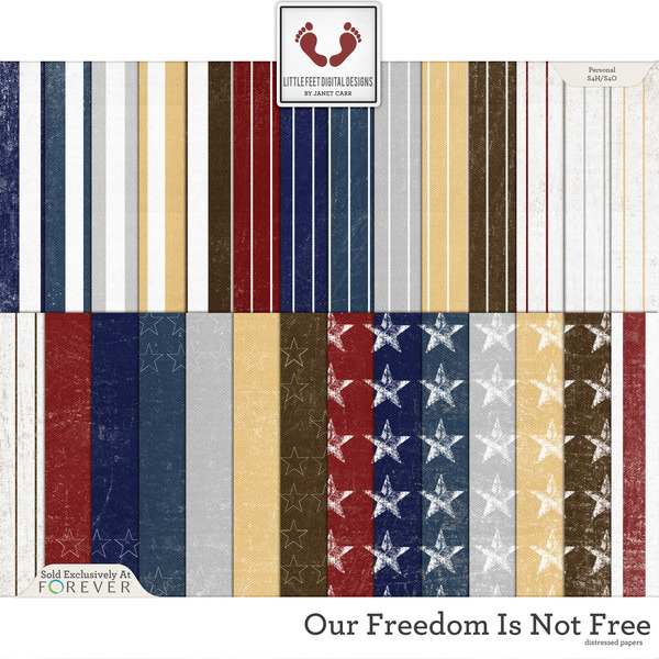 Our Freedom Is Not Free Distressed Papers Digital Art - Digital Scrapbooking Kits