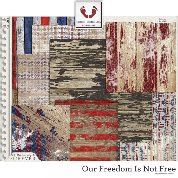 Our Freedom Is Not Free Clipped Wood Papers Digital Art - Digital Scrapbooking Kits