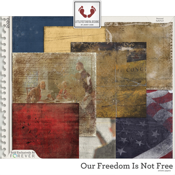 Our Freedom Is Not Free Artistic Papers 1 Digital Art - Digital Scrapbooking Kits