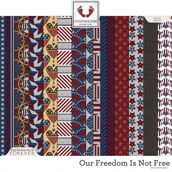 Our Freedom Is Not Free Bonus Pattern Papers Digital Art - Digital Scrapbooking Kits