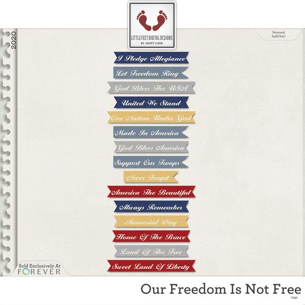 Our Freedom Is Not Free Tags Digital Art - Digital Scrapbooking Kits