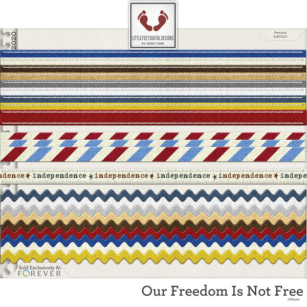 Our Freedom Is Not Free Ribbons Digital Art - Digital Scrapbooking Kits