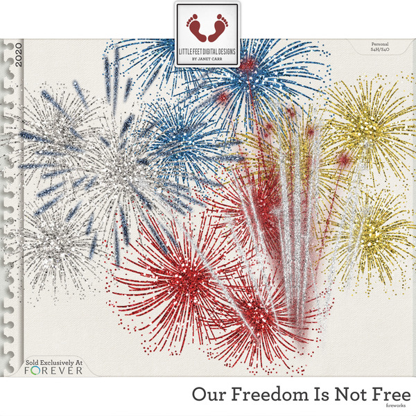 Our Freedom Is Not Free Fireworks Digital Art - Digital Scrapbooking Kits