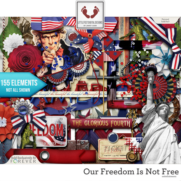 Our Freedom Is Not Free Embellishments Digital Art - Digital Scrapbooking Kits