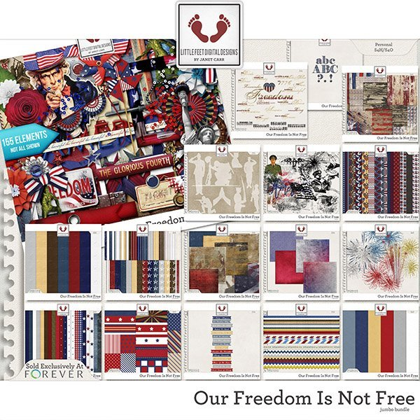 Our Freedom Is Not Free Jumbo Mega Bundle Digital Art - Digital Scrapbooking Kits
