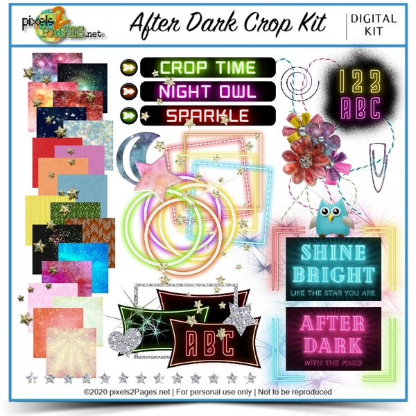 After Dark Crop Kit Digital Art - Digital Scrapbooking Kits