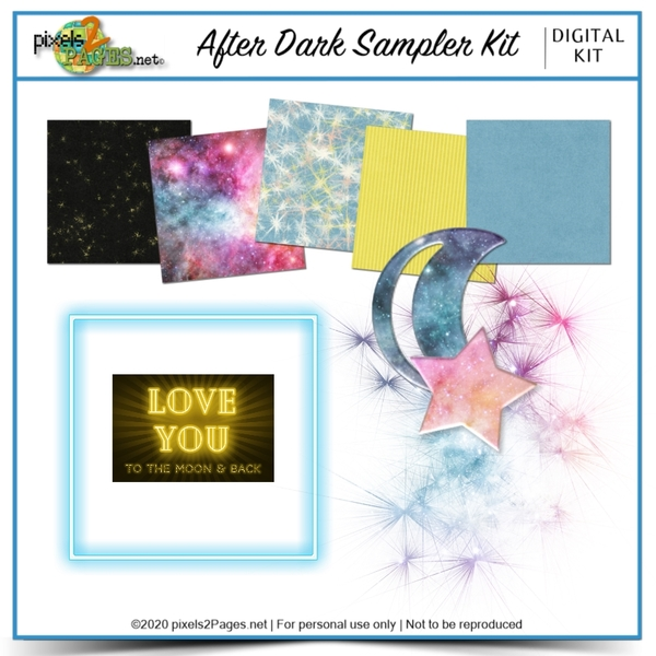 After Dark Sampler Kit Digital Art - Digital Scrapbooking Kits