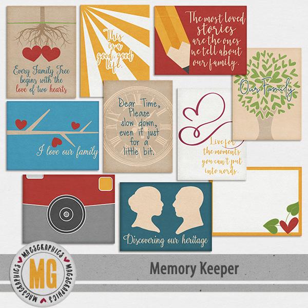 Memory Keeper Journal Cards Digital Art - Digital Scrapbooking Kits