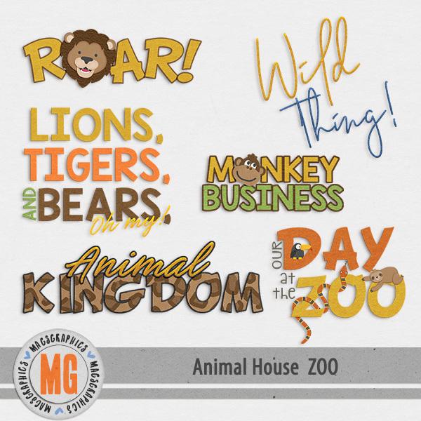 Animal House - Zoo Word Art Digital Art - Digital Scrapbooking Kits