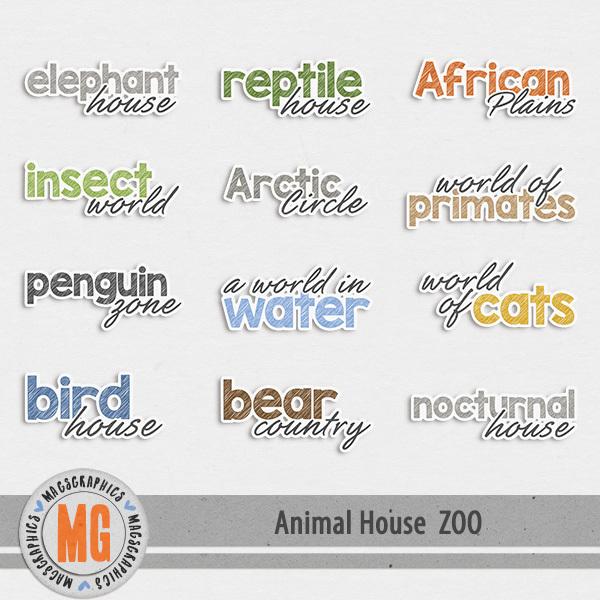 Animal House - Zoo Stickers Digital Art - Digital Scrapbooking Kits