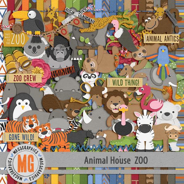 Animal House - Zoo Kit Digital Art - Digital Scrapbooking Kits