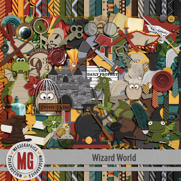 Wizard World Kit Digital Art - Digital Scrapbooking Kits