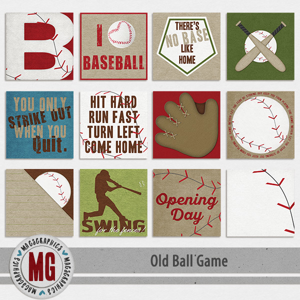 Old Ball Game Journal Cards Digital Art - Digital Scrapbooking Kits