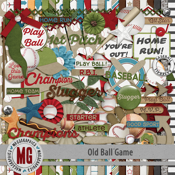 Old Ball Game Kit Digital Art - Digital Scrapbooking Kits