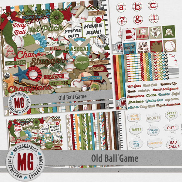 Old Ball Game Bundle Digital Art - Digital Scrapbooking Kits