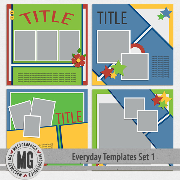 Everyday Templates Set 1 Digital Art - Digital Scrapbooking Kits