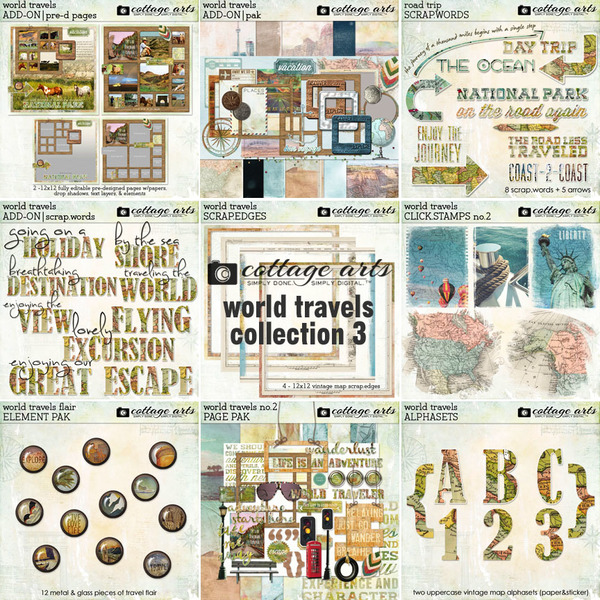 World Travels Collection 3 Digital Art - Digital Scrapbooking Kits