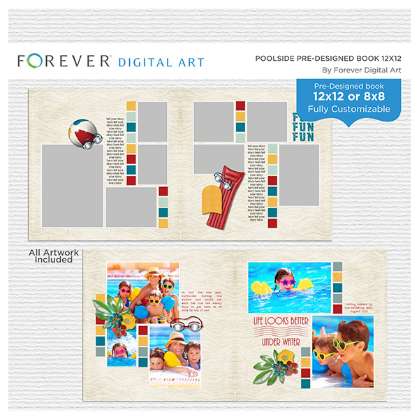 Poolside Pre-designed Book 12x12 Digital Art - Digital Scrapbooking Kits